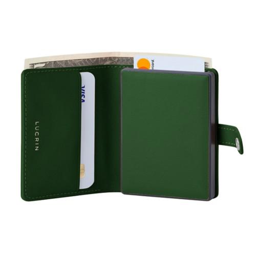 Porte cartes et billets Anti RFID - Vert Foncé - Cuir Lisse