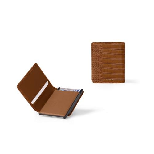 カードケースウォレット - B - Camel - Crocodile style calfskin