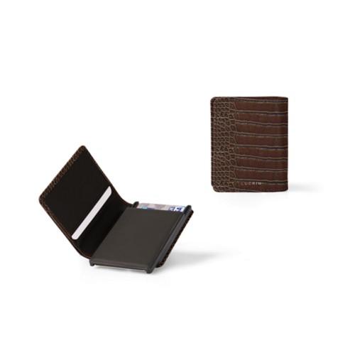 Kartenetui-Brieftasche - 2 - Dunkelbraun - Leder in Krokodil- Optik