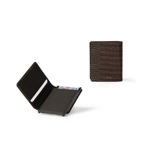 Cards case wallet - B - Dark Brown - Crocodile style calfskin