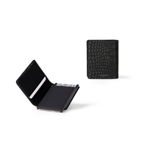 Kartenetui-Brieftasche - 2 - Schwarz - Leder in Krokodil- Optik