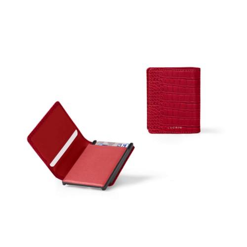 Kartenetui-Brieftasche - 2 - Rot - Leder in Krokodil- Optik