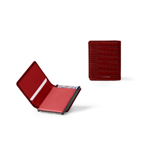 Cards case wallet - B - Red - Crocodile style calfskin