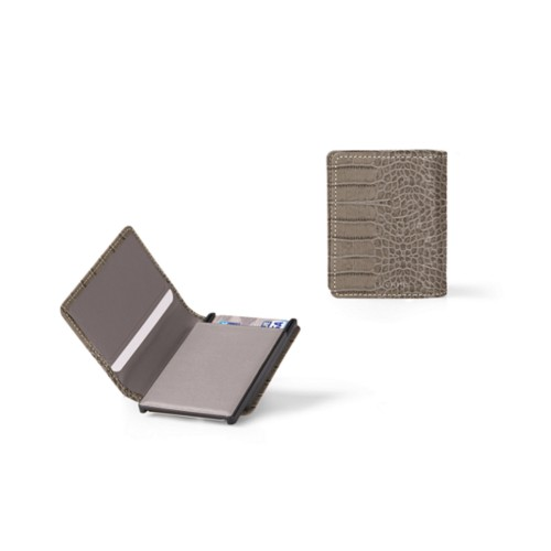 Cards case wallet - 2 - Light Taupe - Crocodile style calfskin