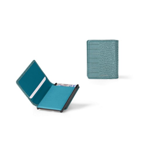 Cards case wallet - B - Turquoise - Crocodile style calfskin