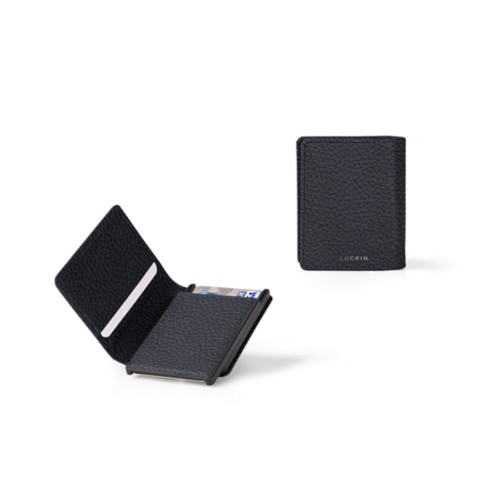 Cards case wallet - 2 - Navy Blue - Granulated Leather