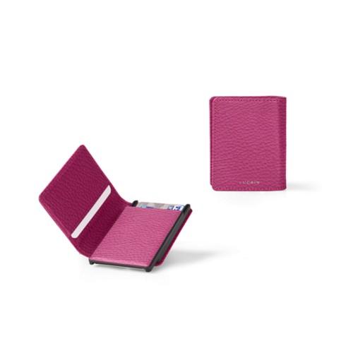 Kartenetui-Brieftasche - B - Fuchsia  - Genarbtes Leder