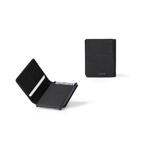 Cards case wallet - B - Black - Granulated Leather