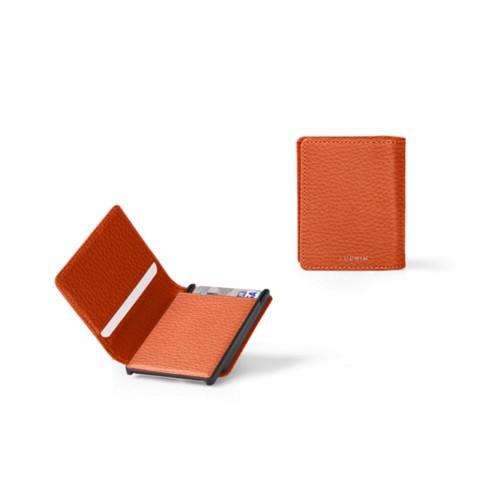 Kartenetui-Brieftasche - 6 - Orange - Genarbtes Leder