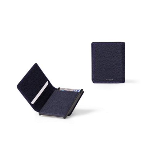 Kartenetui-Brieftasche - 6 - Violett - Genarbtes Leder