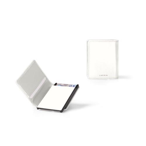 Porte Carte Bancaire - 6 - Blanc - Cuir Lisse
