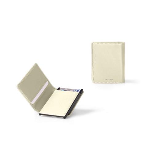 Porte Carte Bancaire - 2 - Blanc Cassé - Cuir Lisse