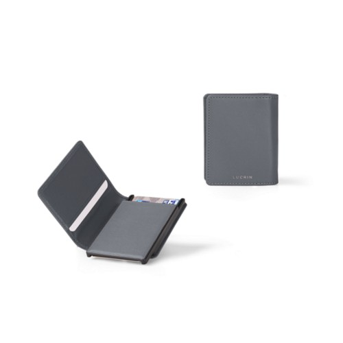 Cards case wallet - 2 - Mouse-Grey - Smooth Leather