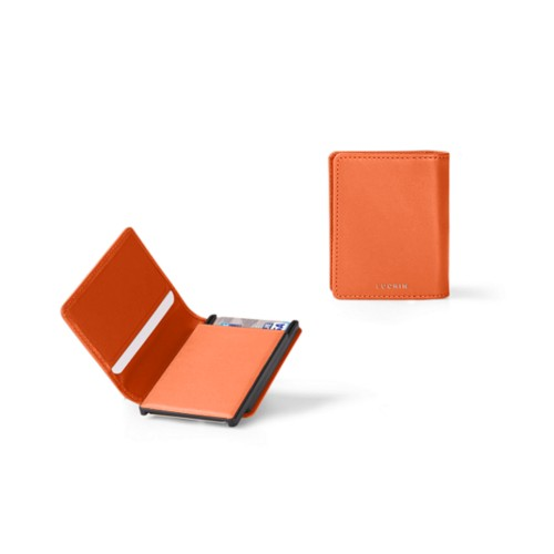 Kartenetui-Brieftasche - 2 - Orange - Glattleder