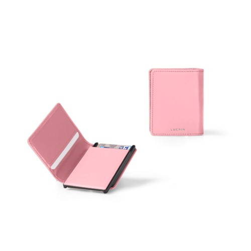 Cards case wallet - B - Pink - Smooth Leather