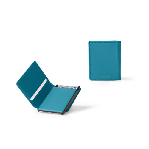 Cards case wallet - B - Turquoise - Smooth Leather