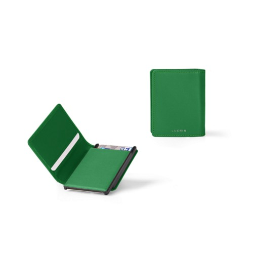 Cards case wallet - B - Light Green - Smooth Leather