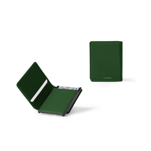 Cards case wallet - B - Dark Green - Smooth Leather
