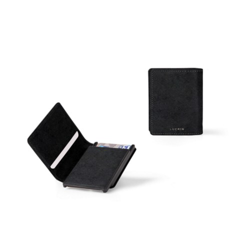 Cards case wallet - B - Black - Vegetable Tanned Leather