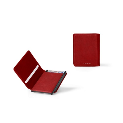 Cards case wallet - B - Carmine - Vegetable Tanned Leather