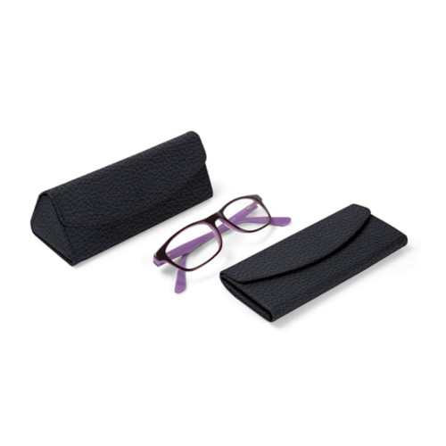 Foldable glasses case - Navy Blue - Granulated Leather