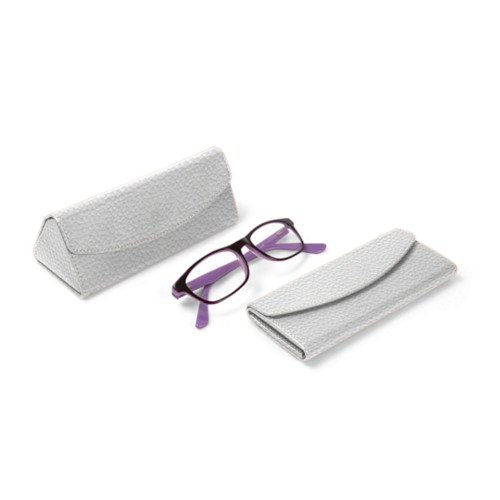 Foldable glasses case - White - Granulated Leather