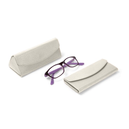 Foldable glasses case - Off-White - Granulated Leather
