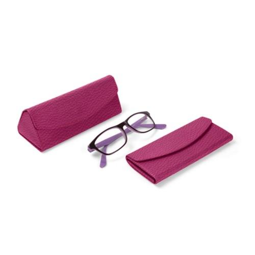 Foldable glasses case - Fuchsia  - Granulated Leather