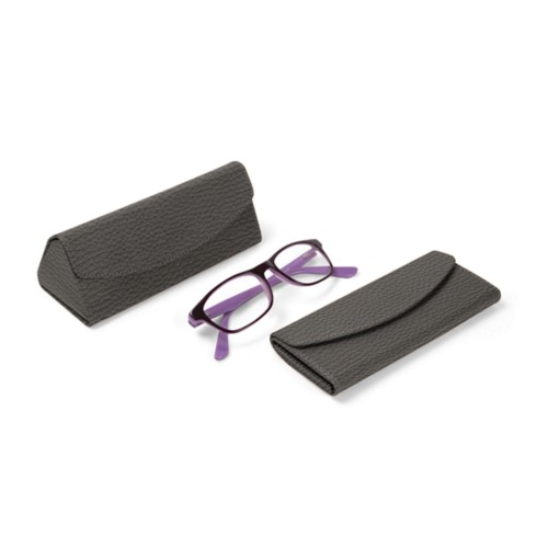 Foldable glasses case - Mouse-Grey - Granulated Leather
