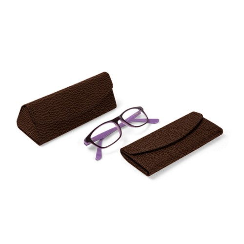 Foldable glasses case - Dark Brown - Granulated Leather