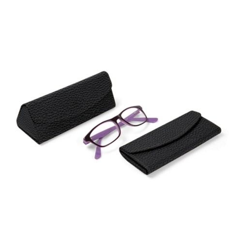 Foldable glasses case - Black - Granulated Leather