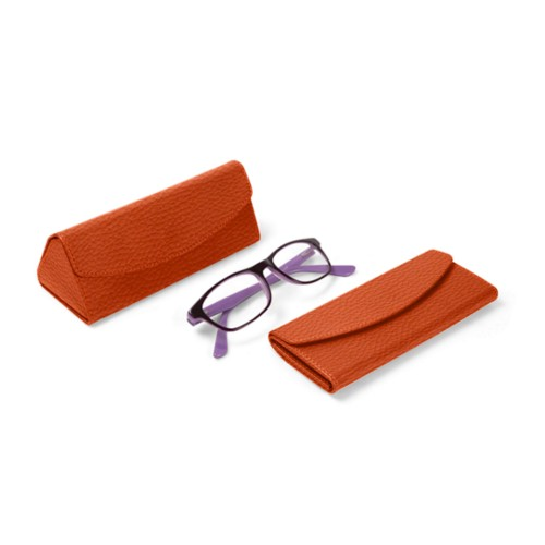 Foldable glasses case - Orange - Granulated Leather