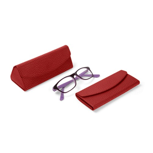 Foldable glasses case - Red - Granulated Leather