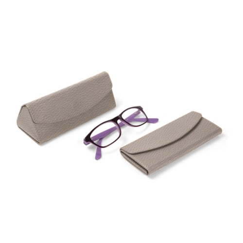 Foldable glasses case - Light Taupe - Granulated Leather