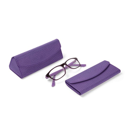 Foldable glasses case - Lavender - Granulated Leather