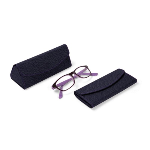 Foldable glasses case - Purple - Granulated Leather