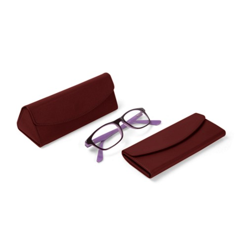 Foldable glasses case - Burgundy - Smooth Leather