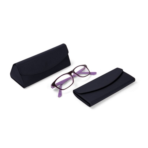 Foldable glasses case - Navy Blue - Smooth Leather
