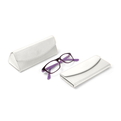 Foldable glasses case - White - Smooth Leather