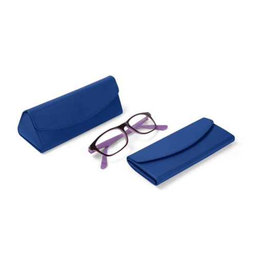 Foldable glasses case - Royal Blue - Smooth Leather