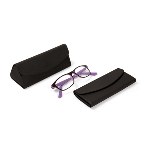 Foldable glasses case - Dark Brown - Smooth Leather