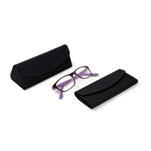 Foldable glasses case - Black - Smooth Leather