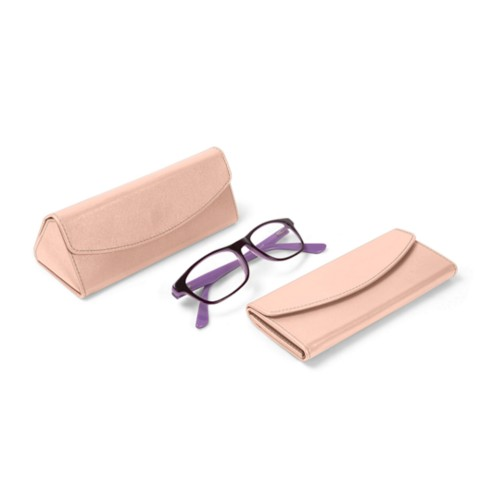 Foldable glasses case - Nude - Smooth Leather