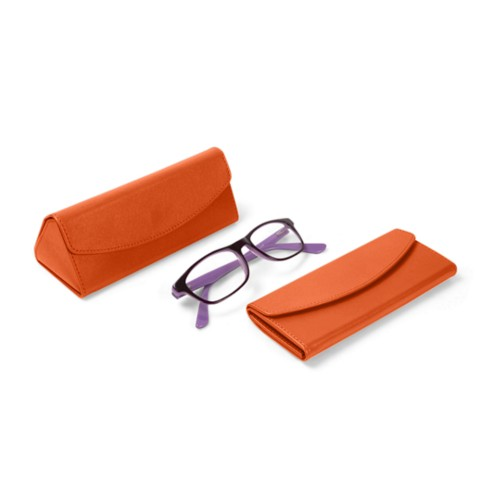 Foldable glasses case - Orange - Smooth Leather
