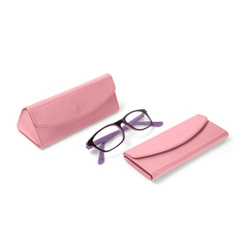 Foldable glasses case - Pink - Smooth Leather