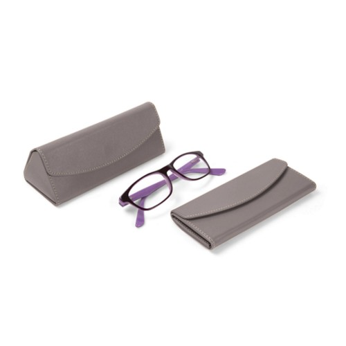 Foldable glasses case - Light Taupe - Smooth Leather