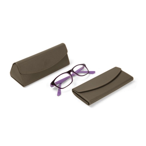 Foldable glasses case - Dark Taupe - Smooth Leather