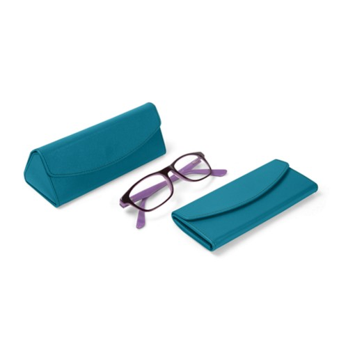 Foldable glasses case - Turquoise - Smooth Leather