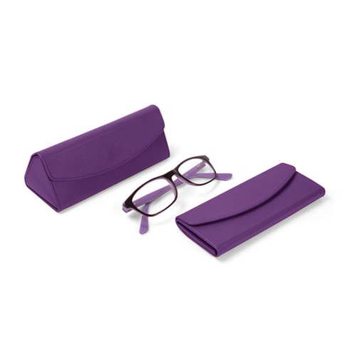 Foldable glasses case - Lavender - Smooth Leather