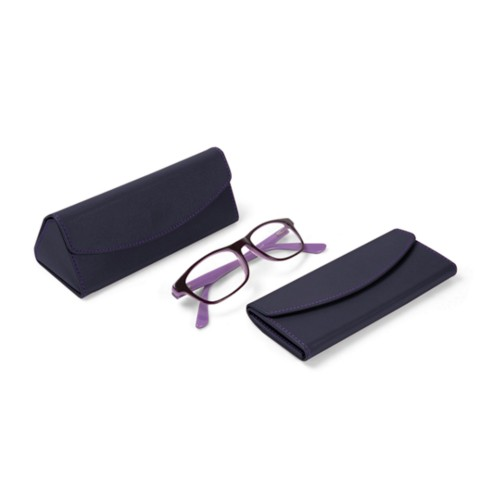 Foldable glasses case - Purple - Smooth Leather